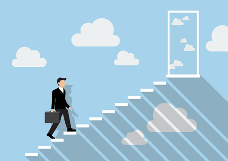 stepping: Businessman stepping up a staircase to the real sky. Business Concept