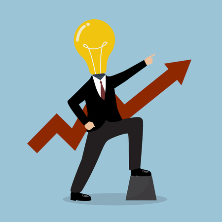 personality development: Businessman with a light bulb head and graph up. Business concept