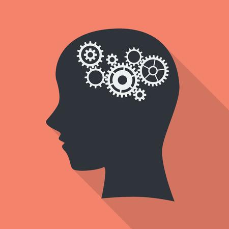 brain illustration: Gear in head. brain work vector illustration. Illustration