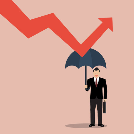 threat: businessman holding umbrella protect graph down. Protection from economic crisis