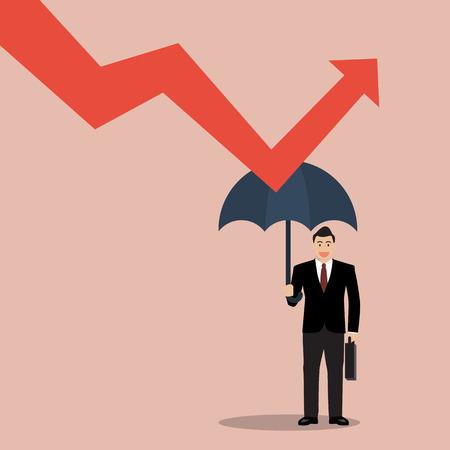crisis economica: hombre de negocios que sostiene el paraguas protegen graficar abajo. Protección frente a la crisis económica