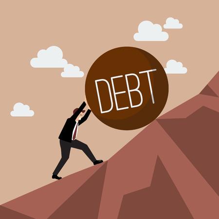 무거운 부채 오르막을 밀어 사업가. 비즈니스 개념