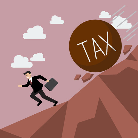 steep: Businessman running away from heavy tax that is rolling down to him. Business concept