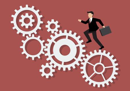 businessman running: Businessman running on mechanism system. Business Concept