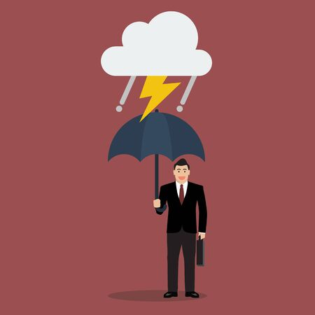economic crisis: Businessman with umbrella in storm. Protection from economic crisis