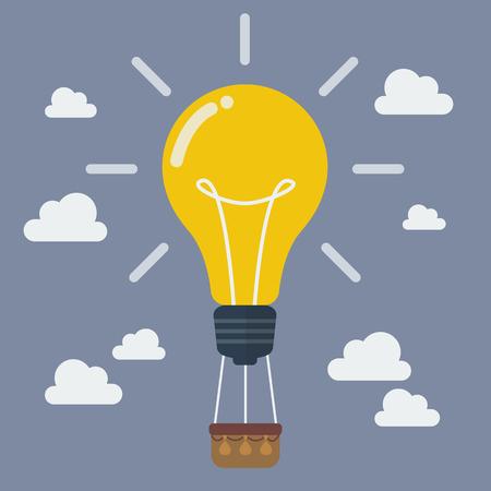 Ideen-Glühlampe-Ballon. Idee Konzept Standard-Bild - 43902018
