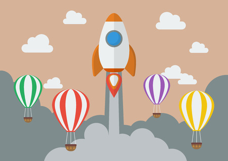 business competition: Rocket launching over the hot air balloons. Business competition concept. Flat Design Illustration