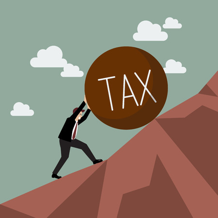 Businessman pushing heavy tax uphill. Business concept