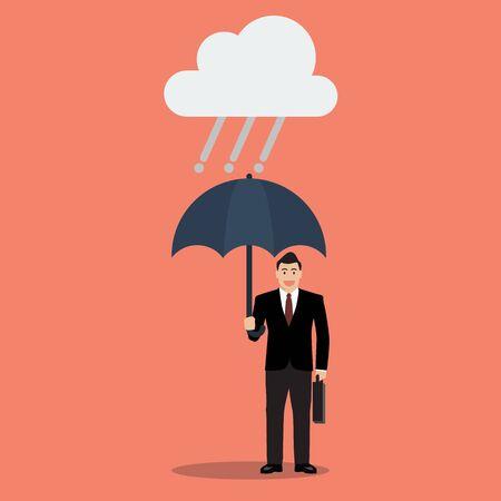 crisis economica: El hombre de negocios con el paraguas en la lluvia. Protección frente a la crisis económica Vectores