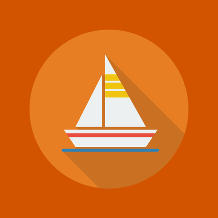 Travel Flat Icon With Long Shadow. Sail boat