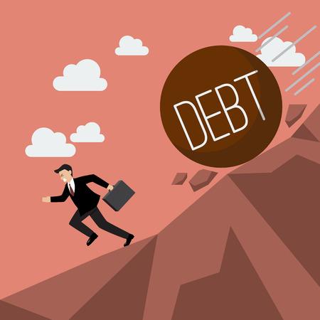 ビジネスマンが彼の下に転がっている多額の借金から逃げています。ビジネス コンセプト  イラスト・ベクター素材