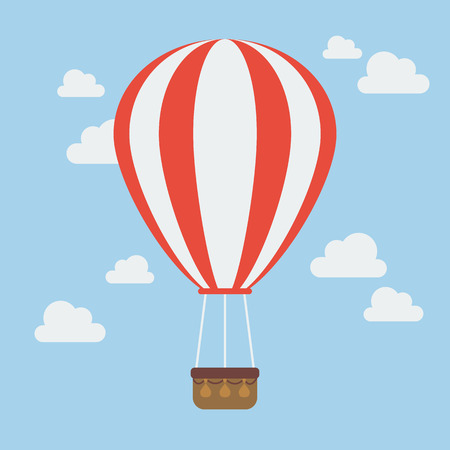 Hot air balloon illustration in flat style design.