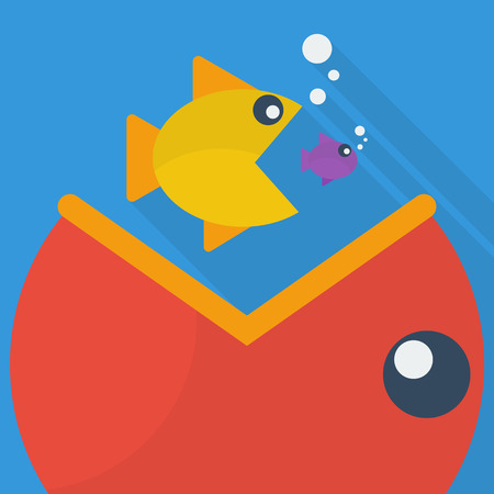 big fish: Big fish eat little fish. vector illustration