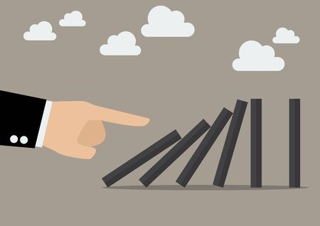 domino effect: Businessman hand pushing the domino tiles. Business Concept Illustration
