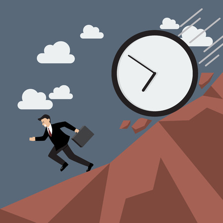 time run away: Businessman running away from clock attack. Business concept Illustration
