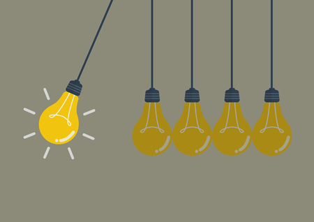 off balance: Perpetual motion with light bulbs. Idea concept.