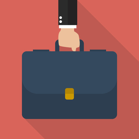 Businessman hand holding briefcase. vector illustration Çizim