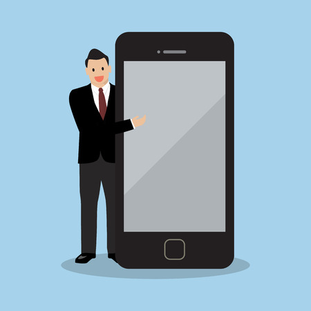 infographics touchscreen: Businessman pointing to the screen of a smartphone. vector illustration Illustration