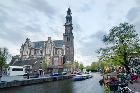 protestant: Amsterdam, Netherlands - May 7, 2015: People at Westerkerk (Western Church) a Dutch Protestant church in central Amsterdam in the Netherlands. on May 7, 2015.