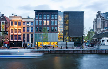 frank: Amsterdam, Netherlands - May 7, 2015: Tourist visit Anne Frank house and holocaust museum in Amsterdam, the Netherlands, on May 7, 2015. Anne Frank house is a popular tourist destination
