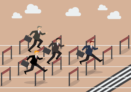loss leader: Businessman race hurdle competition. Business concept