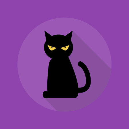 evil: Halloween Flat Icon With Long Shadow. Black Cat