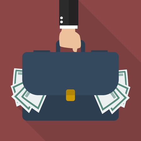 plunder: Businessman hand holding briefcase full of money. vector illustration Illustration