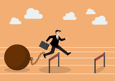 Businessman jumping over hurdle with the weight. Business concept Vettoriali