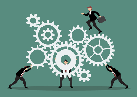 man pushing: Business teamwork with mechanism system. Vector Illustration