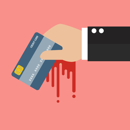 blood transfer: Businessman Bloody Hand Holding Credit Card. Business Concept Illustration