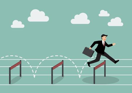 Businessman jumping over hurdle. Business concept Reklamní fotografie - 44299117