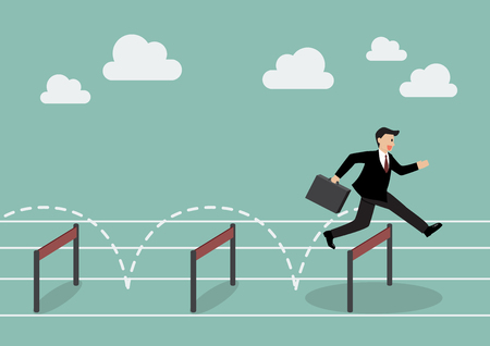 Businessman jumping over hurdle. Business concept