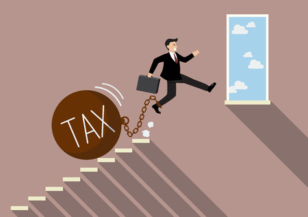 tax: Businessman jumping to success with heavy tax. Business Concept