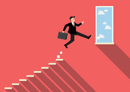businessman jumping: Businessman jumping to success. Business Concept Illustration