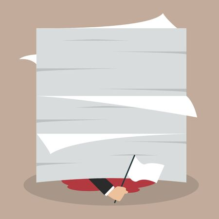 despondent: Businessman surrender show the white flag under a lot of documents. Business concept Illustration