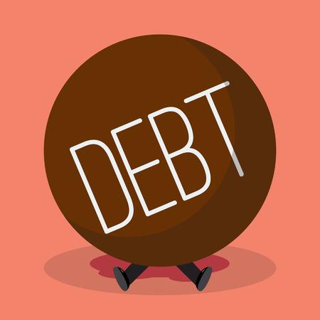disheartened: Businessman under heavy debt. Business concept