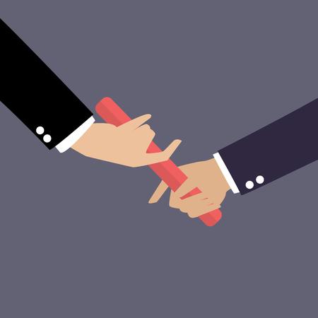 carrera de relevos: Mano de empresario pasar el testigo en una carrera de relevos. Asociación o el trabajo en equipo concepto Vectores