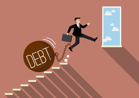 businessman jumping: Businessman jumping to success with heavy debt. Business Concept