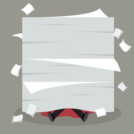 despondent: Businessman under a lot of documents. Business concept