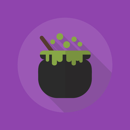 chowder: Halloween Flat Icon With Long Shadow. Witch Pot