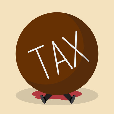 disheartened: Businessman under heavy tax. Business concept