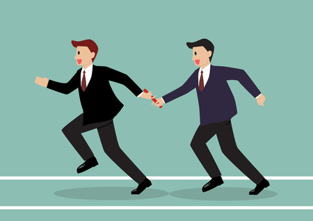 Businessman passing the baton in a relay race. Partnership or teamwork concept Çizim