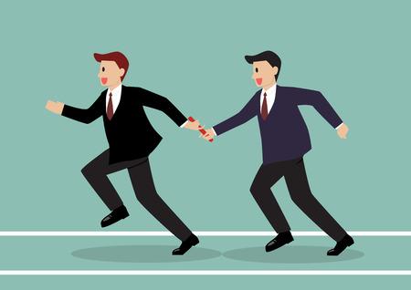 Zakenman het passeren van het stokje in een estafette. Partnerschap of teamwork concept Vector Illustratie