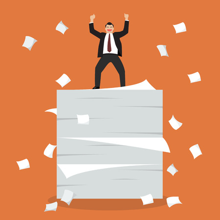 happy employees: Businessman celebrating on a lot of documents. Vector Illustration