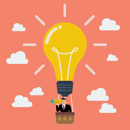 job search: Businessman in lightbulb balloon search to success. Business idea concept Illustration