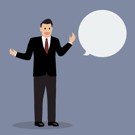 body language: Businessman talking with body language. Vector Illustration