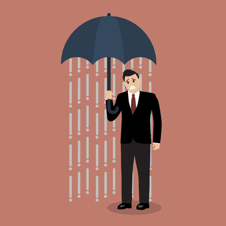 unfortunate: Businessman being wet from raining instead he holding umbrella. Business concept
