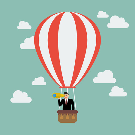 Businessman in hot air balloon search to success. Business concept