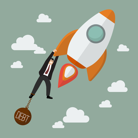 burden: Businessman try hard to hold on a rocket with debt burden. Project start up new business.