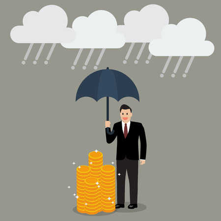 risk management: Businessman with umbrella protecting his money from financial crisis. money risk management concept